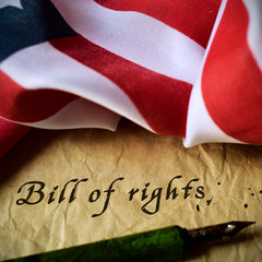 american flag and text bill of rights