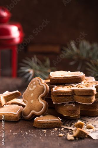 christmas holiday background with gingerbread cookies border over wooden table christmas and new year