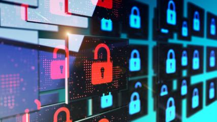 Smart security database technology - Unlocked security padlock