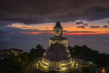 aerial view Phuket big Buddha in twilight. Phuket Big Buddha is one of the island most important and revered landmarks on Phuket island..