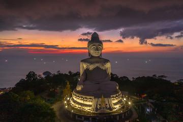 Keuken foto achterwand Boeddha aerial view Phuket big Buddha in twilight. Phuket Big Buddha is one of the island most important and revered landmarks on Phuket island..