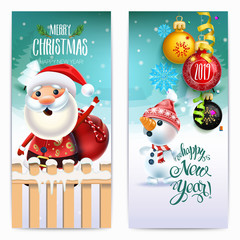 2019 Happy New Year decoration of a poster card and a merry Christmas holiday background with garlands, tree branches, snowflakes and a snowman and Santa claus around a Christmas tree
