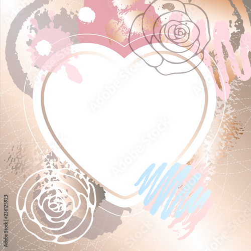 Golden Pink Art Heart Frames Modern Card Design Brush Stroke Gold