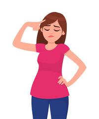 Unhappy young woman touching head while closed eyes. Woman holding fingers on her temples. Human emotion and body language concept illustration in vector cartoon flat style.
