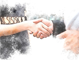 Beautiful women handshake with boyfriend close up on watercolor illustration painting background.