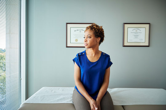 Woman waiting at doctor's office