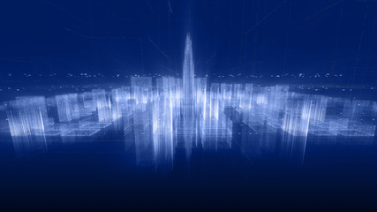 Abstract hologram 3D city rendering with futuristic matrix. Digital skyline with a binary code particles network. Technology and connection concept. Architecture background with particle skyscrapers.