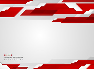 Abstract of futuristic gradient red stripe line pattern with white edge shadow background.
