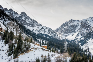 Tien Shan mountains in winter, Almaty, Kazakhstan. Tuyk su gorge near Shymbulak ski resort.