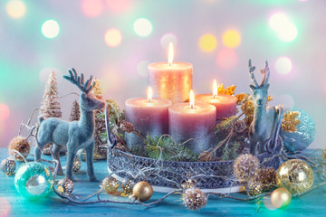 Candles and christmas decoration