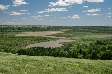 Canvas Prints Dark grey View over the Missouri river from a hill in Niobrara state park, Nebraska
