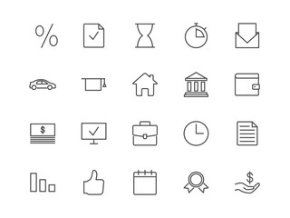 Loan, credit, mortgage vector icons