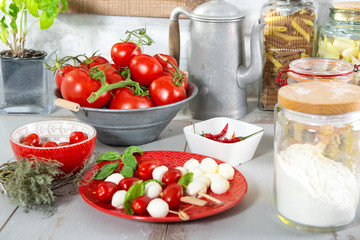 ingredients for the preparation of pizza