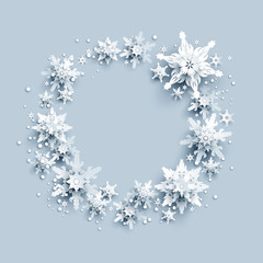 Winter holiday realistic paper cut wreath from snowflakes. Snow christmas decoration for design banner, ticket, invitation, greetings, leaflet and so on.