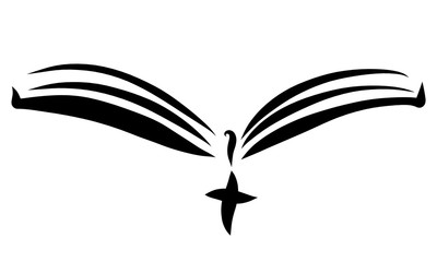 Open book with a bookmark and a cross, black lines