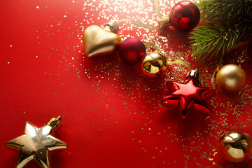 Christmas holidays composition on red background with copy space for your text