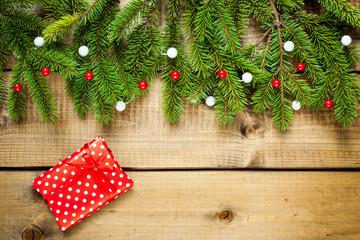 Christmas decoration on wood background.