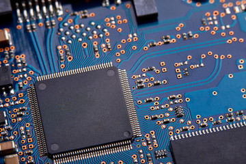 Close-up of electronic circuit board with processor of computer motherboard
