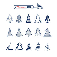Christmas tree line art icons set. Christmas drawing collection.