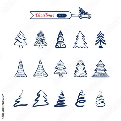 Christmas Drawing.Christmas Tree Line Art Icons Set Christmas Drawing
