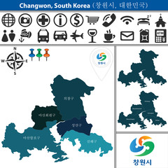 Map of Changwon with Districts, South Korea