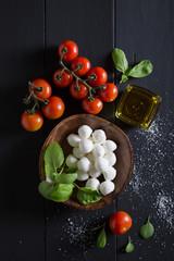 Ingredients for caprese salad. Italian food