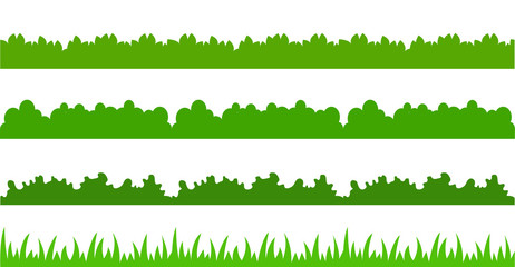 Large set of fresh green spring grass cartoon borders in lengths and densities for use as design elements isolated on white background. cartoon vector illustrations