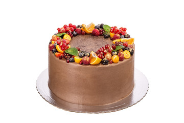 Delicious chocolate cake made from fruit and cream. On the holidays.