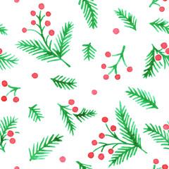 watercolor winter seamless vector pattern