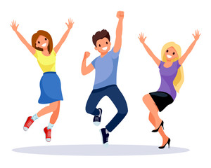 Group of happiness, freedom, motion, laughing people concept - smiling young international friends jumping in air over with raised hands on white background. Happy positive joyful men and women.