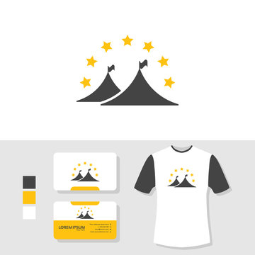 Tent logo design with business card and t shirt mockup
