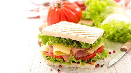 sandwich toast with salad,cheese and ham