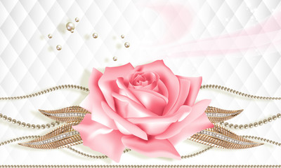 3D wallpaper, rose and jewelry flowers on white abstract background. Celebration 3d background.