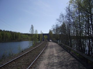railway, lake and forest