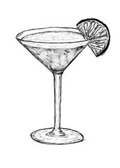 Black brush and ink artistic hand drawing of glass with cocktail drink and lime or lemon slice.