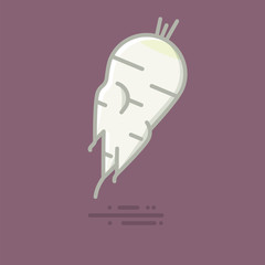 Horseradish root vegetable vector filled line icon