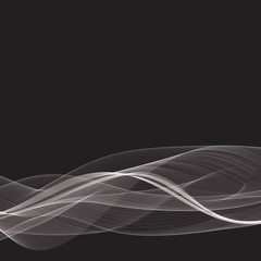 Black background technology.Transparent white waves.Abstract shiny background.