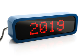 Led box display of 2019 New Year, isolated on white