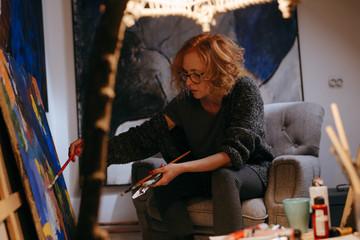 woman artist in her atelier