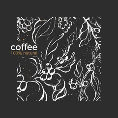 Vector pattern. Natural product Coffee branch, tree, leaves, bean