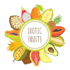 Exotic Fruits Papaya Mamey Pitaya Poster Vector