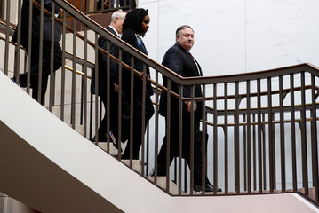 U.S. Secretary of State Mike Pompeo arrives to brief senators on the latest developments related to the death of Saudi journalist Jamal Khashoggi