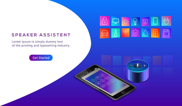 Smart speaker assistant for smart home control. Intelligent ivr voice activated assistant. Mobile phone for house control. Icons of home elements on colorful gradient. Landing page Vector illustration