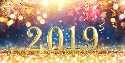 Wall Mural - Happy New Year 2019 - Glitter And Fireworks