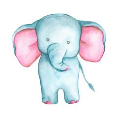 little cute cartoon elephant - watercolor illustration
