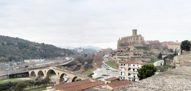 A landscape of romanesque and gothic Collegiate Basilica of Holy Mary (Basílica de Santa María de la Aurora) in Manresa, Catalonia, Spain