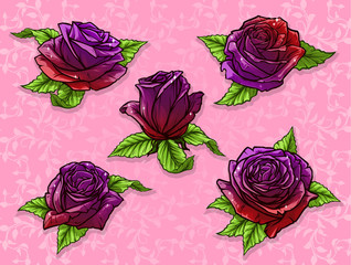 Graphic detailed cartoon violet and red rose flower bud with green leaves. On pink background. Vector icon set.