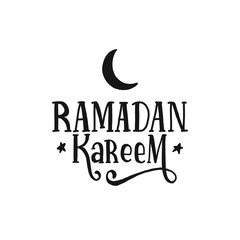 Hand drawn lettering ramadan kareem with moon and star. Calligraphy ramadan kareem for muslim holy month for print, card, poster, banner.