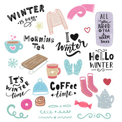 Winter illustration and hand lettering phrase morning tea, hello winter, coffee time, for stickers, print, textile.