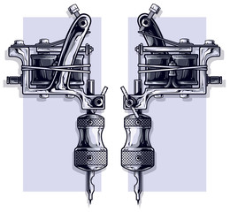 Graphic detailed black and white metal tattoo machine. On white background. Vector icon set.